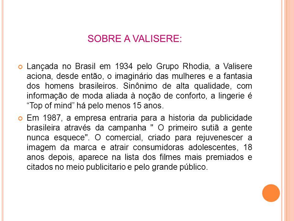 SOBRE A VALISERE: Lançada no Brasil em 1934 pelo Grupo Rhodia, a Valisere aciona, desde então, o imaginário das mulheres e a fantasia dos homens brasileiros.
