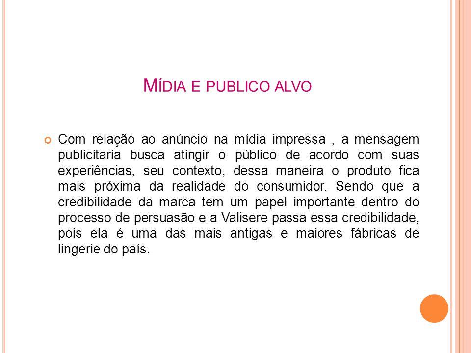 M ÍDIA E PUBLICO ALVO Com relação ao anúncio na mídia impressa, a mensagem publicitaria busca atingir o público de acordo com suas experiências, seu c