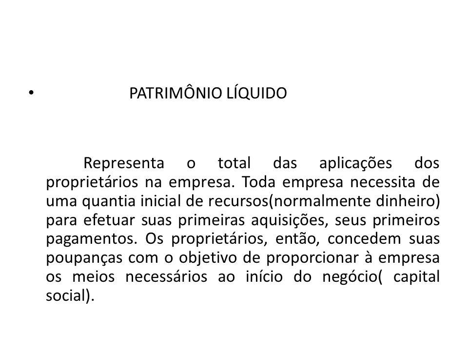 PATRIMÔNIO LÍQUIDO Representa o total das aplicações dos proprietários na empresa.