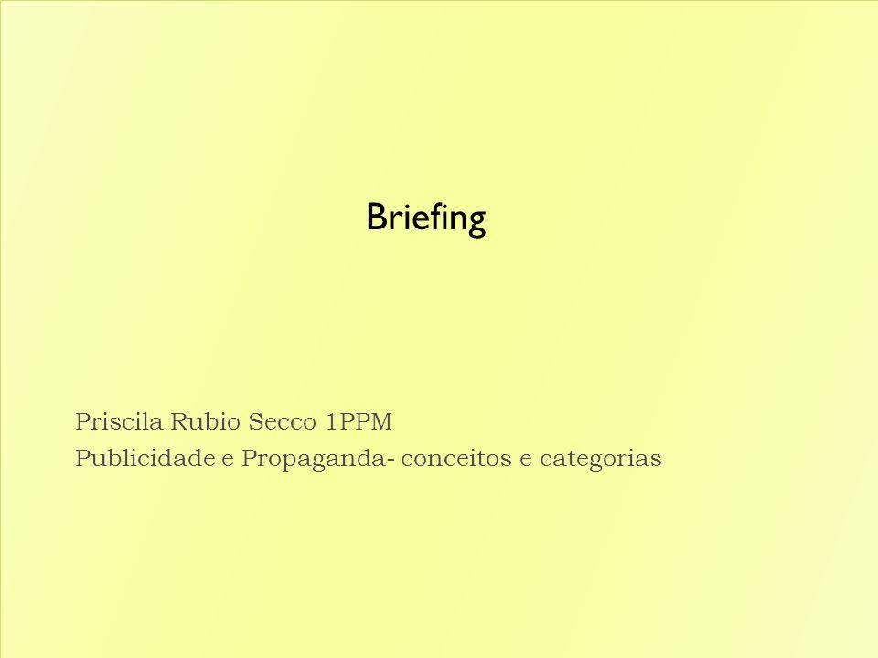 Briefing Priscila Rubio Secco 1PPM Publicidade e Propaganda- conceitos e categorias