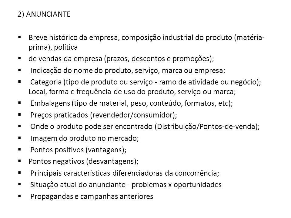 2) ANUNCIANTE Breve histórico da empresa, composição industrial do produto (matéria- prima), política de vendas da empresa (prazos, descontos e promoç