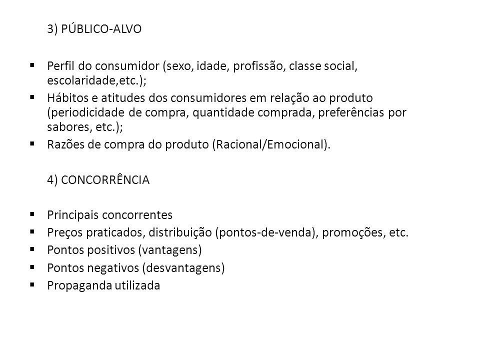 3) PÚBLICO-ALVO Perfil do consumidor (sexo, idade, profissão, classe social, escolaridade,etc.); Hábitos e atitudes dos consumidores em relação ao pro