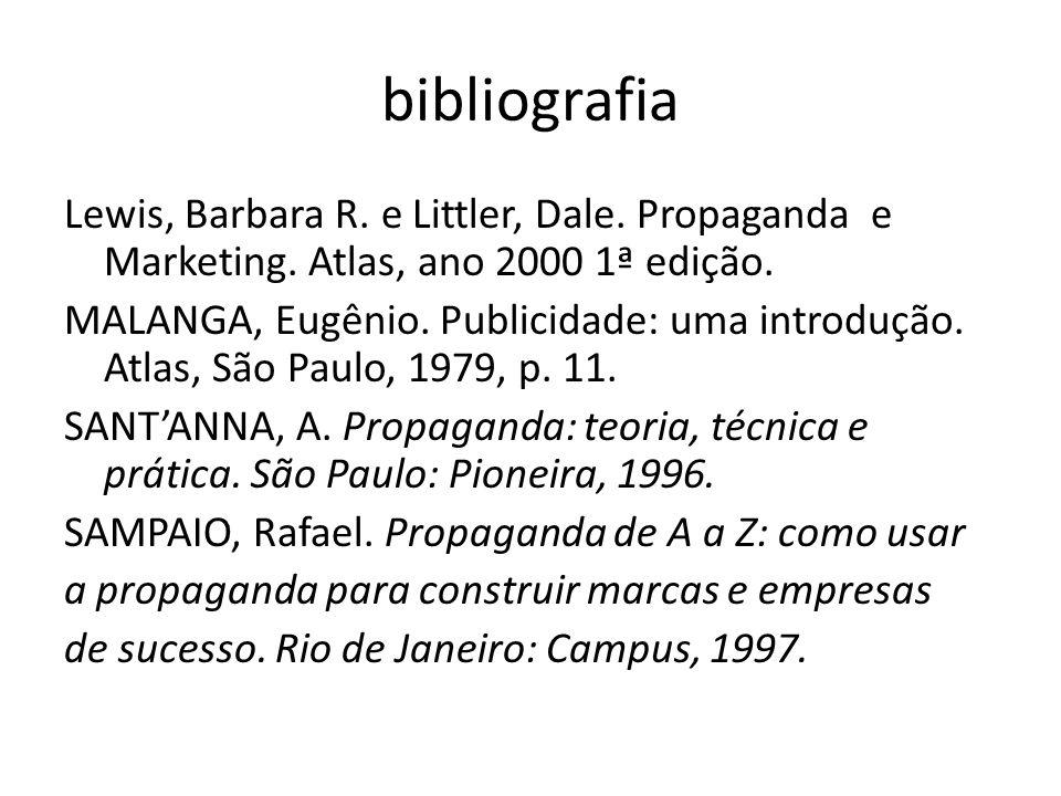 bibliografia Lewis, Barbara R. e Littler, Dale. Propaganda e Marketing. Atlas, ano 2000 1ª edição. MALANGA, Eugênio. Publicidade: uma introdução. Atla
