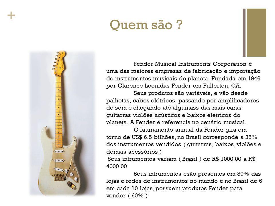 + Quem são ? Fender Musical Instruments Corporation é uma das maiores empresas de fabricação e importação de instrumentos musicais do planeta. Fundada
