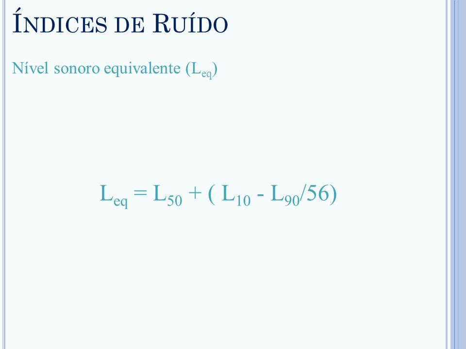 Í NDICES DE R UÍDO Nível sonoro equivalente (L eq ) L eq = L 50 + ( L 10 - L 90 /56)