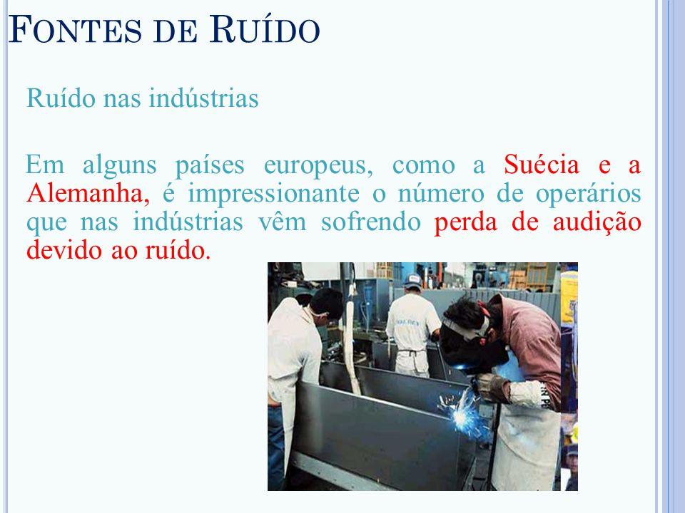 F ONTES DE R UÍDO Ruído nas indústrias Em alguns países europeus, como a Suécia e a Alemanha, é impressionante o número de operários que nas indústria