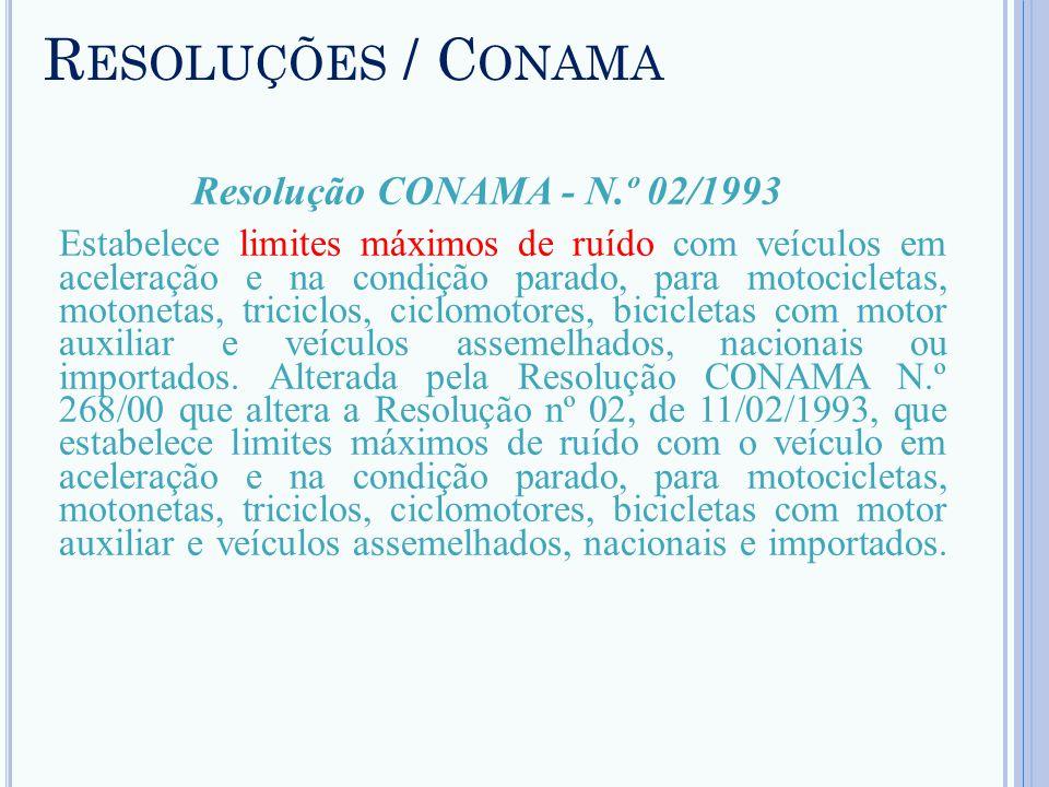 R ESOLUÇÕES / C ONAMA Resolução CONAMA - N.º 02/1993 Estabelece limites máximos de ruído com veículos em aceleração e na condição parado, para motocic