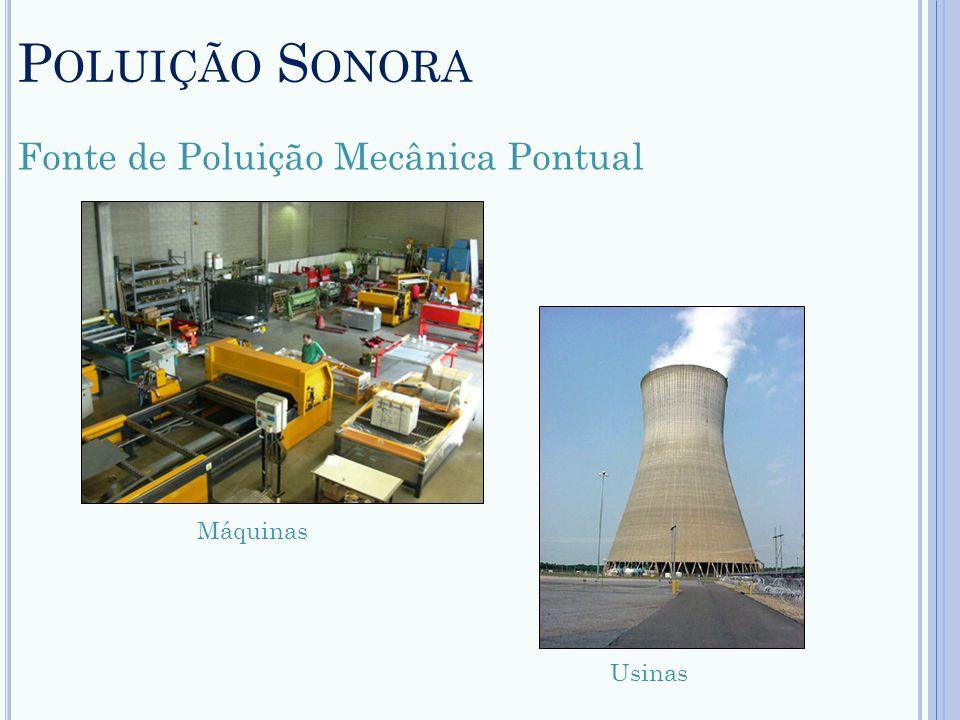 P OLUIÇÃO S ONORA Fonte de Poluição Mecânica Pontual Máquinas Usinas