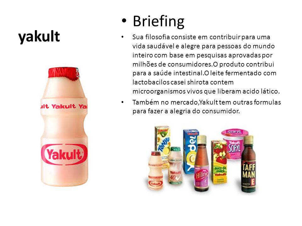 yakult Briefing Sua filosofia consiste em contribuir para uma vida saudável e alegre para pessoas do mundo inteiro com base em pesquisas aprovadas por