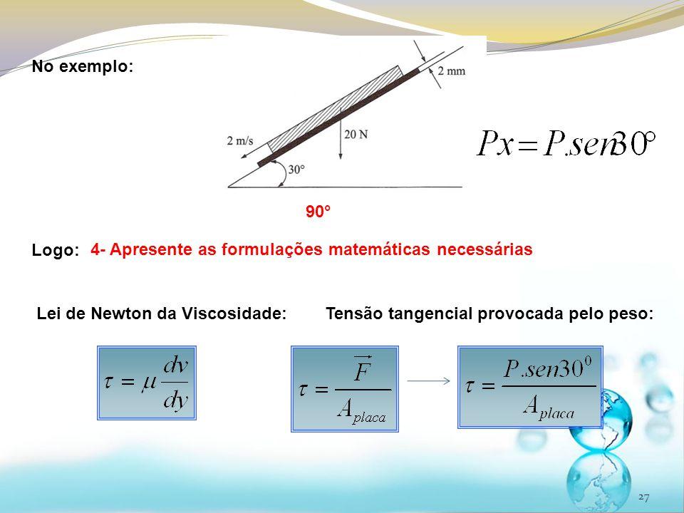 27 No exemplo: Logo: 90° 4- Apresente as formulações matemáticas necessárias Lei de Newton da Viscosidade:Tensão tangencial provocada pelo peso: