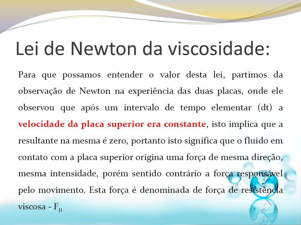 Lei de Newton da viscosidade: Para que possamos entender o valor desta lei, partimos da observação de Newton na experiência das duas placas, onde ele