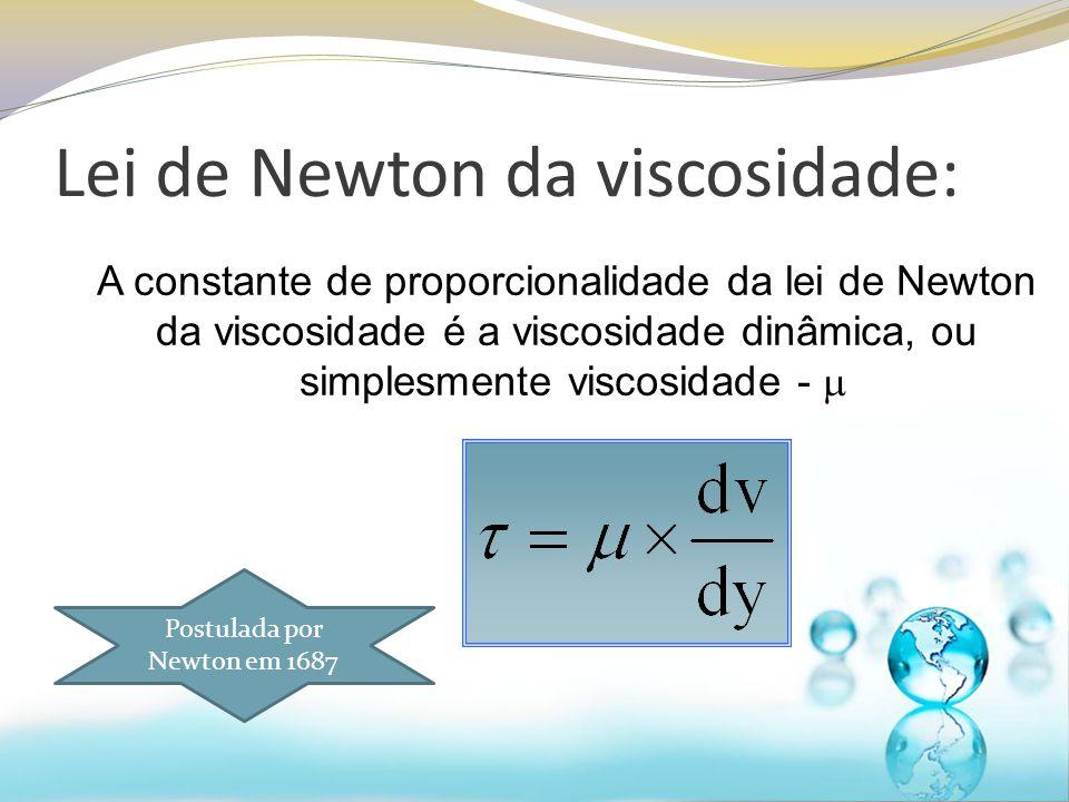 Lei de Newton da viscosidade: A constante de proporcionalidade da lei de Newton da viscosidade é a viscosidade dinâmica, ou simplesmente viscosidade -