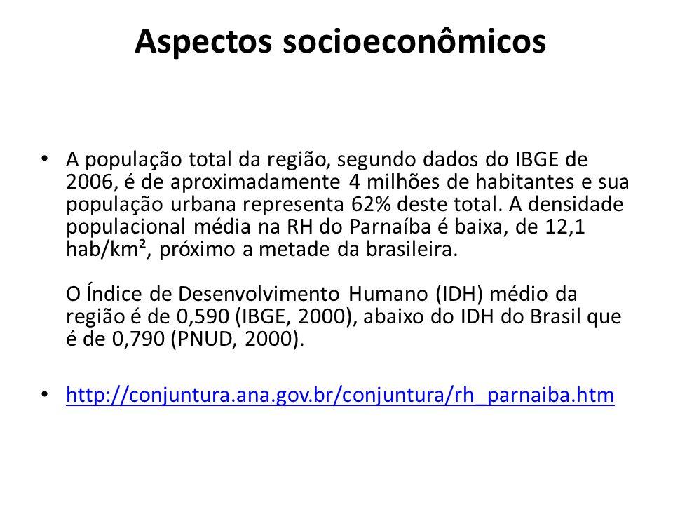 Aspectos socioeconômicos A população total da região, segundo dados do IBGE de 2006, é de aproximadamente 4 milhões de habitantes e sua população urbana representa 62% deste total.