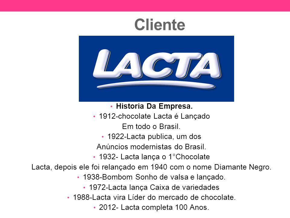 Cliente Historia Da Empresa. 1912-chocolate Lacta é Lançado Em todo o Brasil. 1922-Lacta publica, um dos Anúncios modernistas do Brasil. 1932- Lacta l
