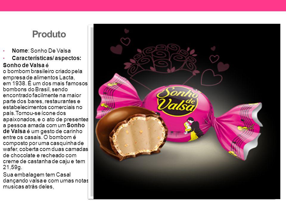 Produto Nome: Sonho De Valsa Características/ aspectos: Sonho de Valsa é o bombom brasileiro criado pela empresa de alimentos Lacta, em 1938. É um dos