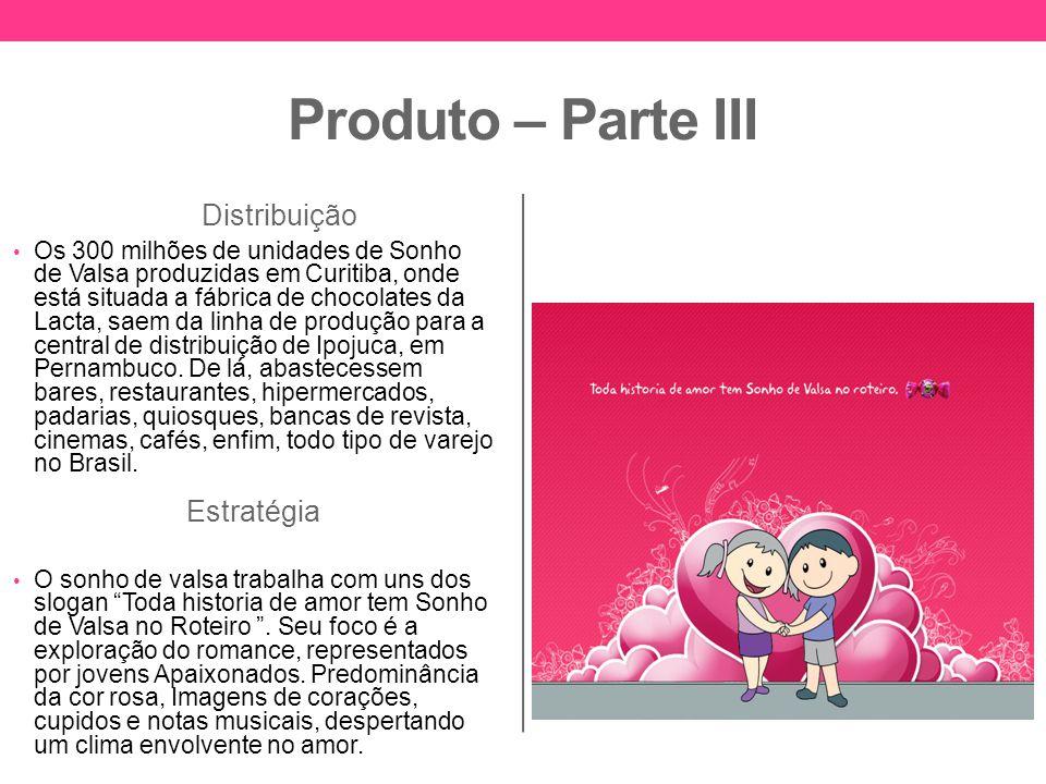 Produto – Parte III Distribuição Os 300 milhões de unidades de Sonho de Valsa produzidas em Curitiba, onde está situada a fábrica de chocolates da Lac