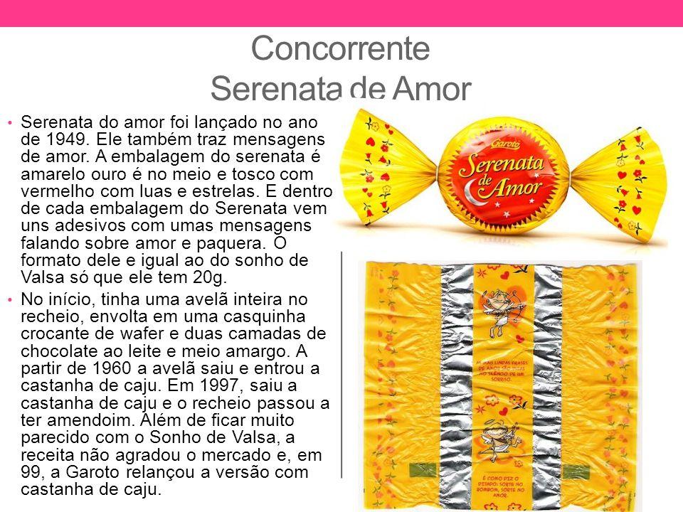 Concorrente Serenata de Amor Serenata do amor foi lançado no ano de 1949. Ele também traz mensagens de amor. A embalagem do serenata é amarelo ouro é