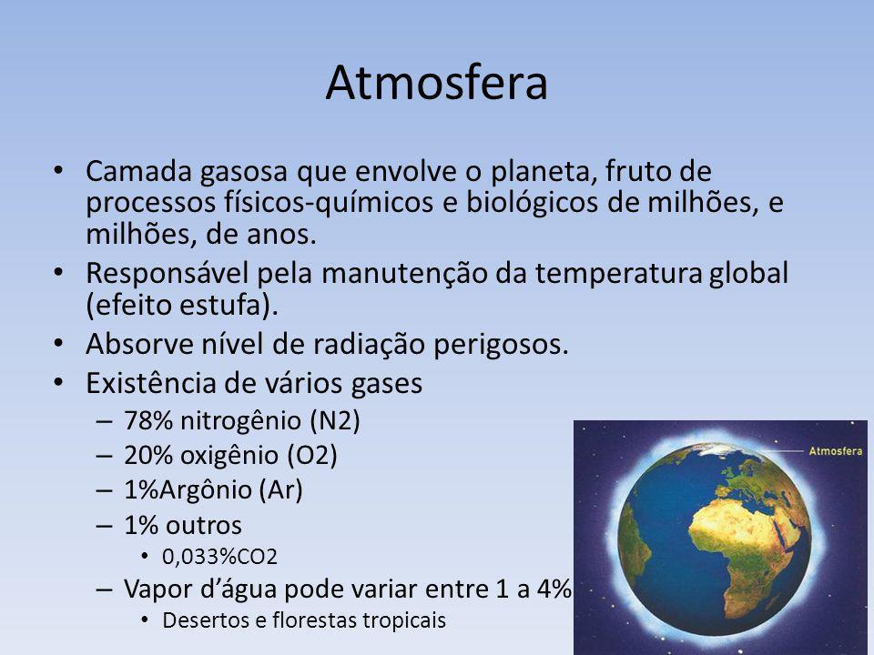 Atmosfera Camada gasosa que envolve o planeta, fruto de processos físicos-químicos e biológicos de milhões, e milhões, de anos. Responsável pela manut