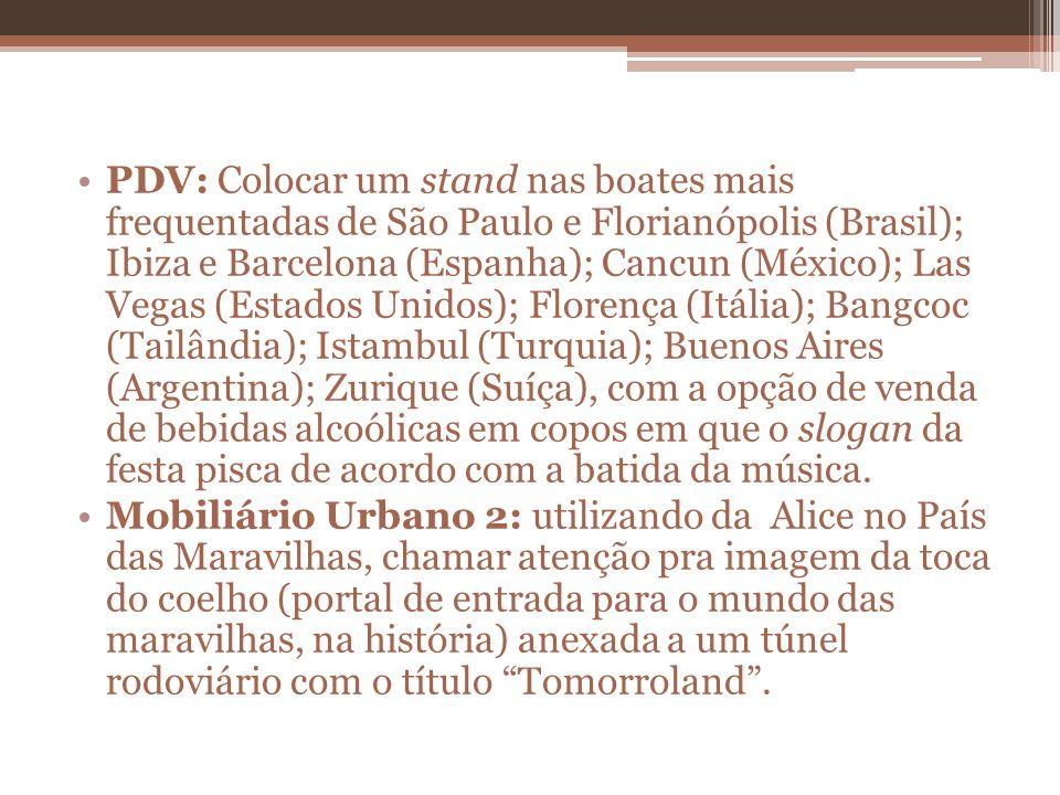 PDV: Colocar um stand nas boates mais frequentadas de São Paulo e Florianópolis (Brasil); Ibiza e Barcelona (Espanha); Cancun (México); Las Vegas (Est