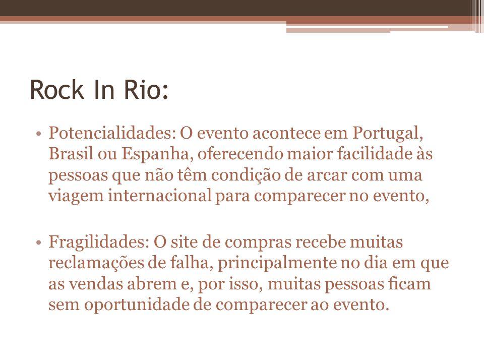 Rock In Rio: Potencialidades: O evento acontece em Portugal, Brasil ou Espanha, oferecendo maior facilidade às pessoas que não têm condição de arcar c