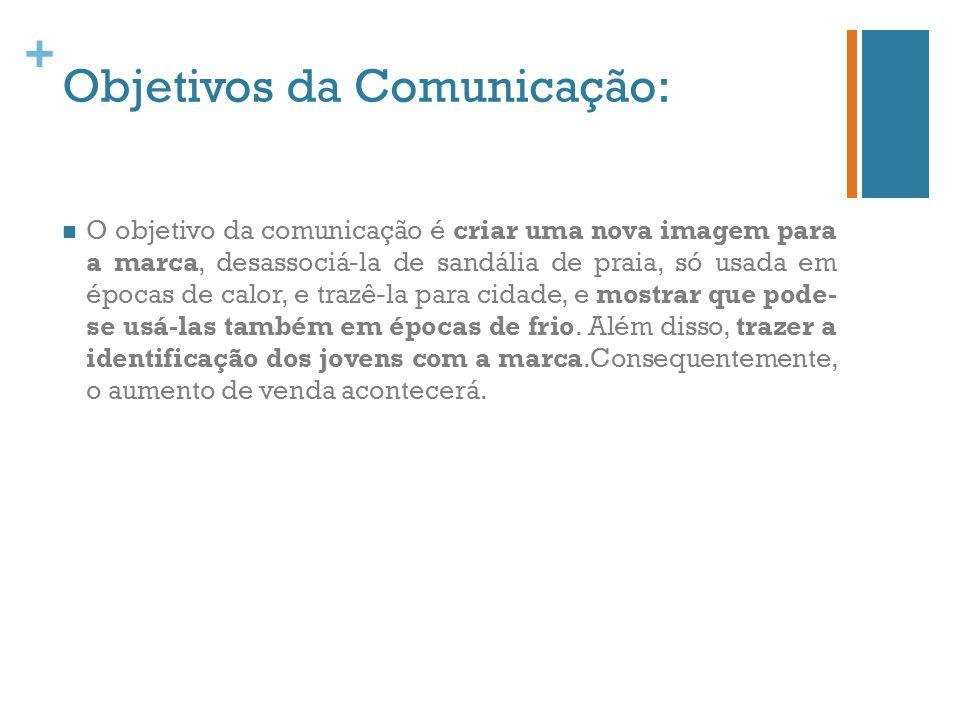 + Objetivos da Comunicação: O objetivo da comunicação é criar uma nova imagem para a marca, desassociá-la de sandália de praia, só usada em épocas de