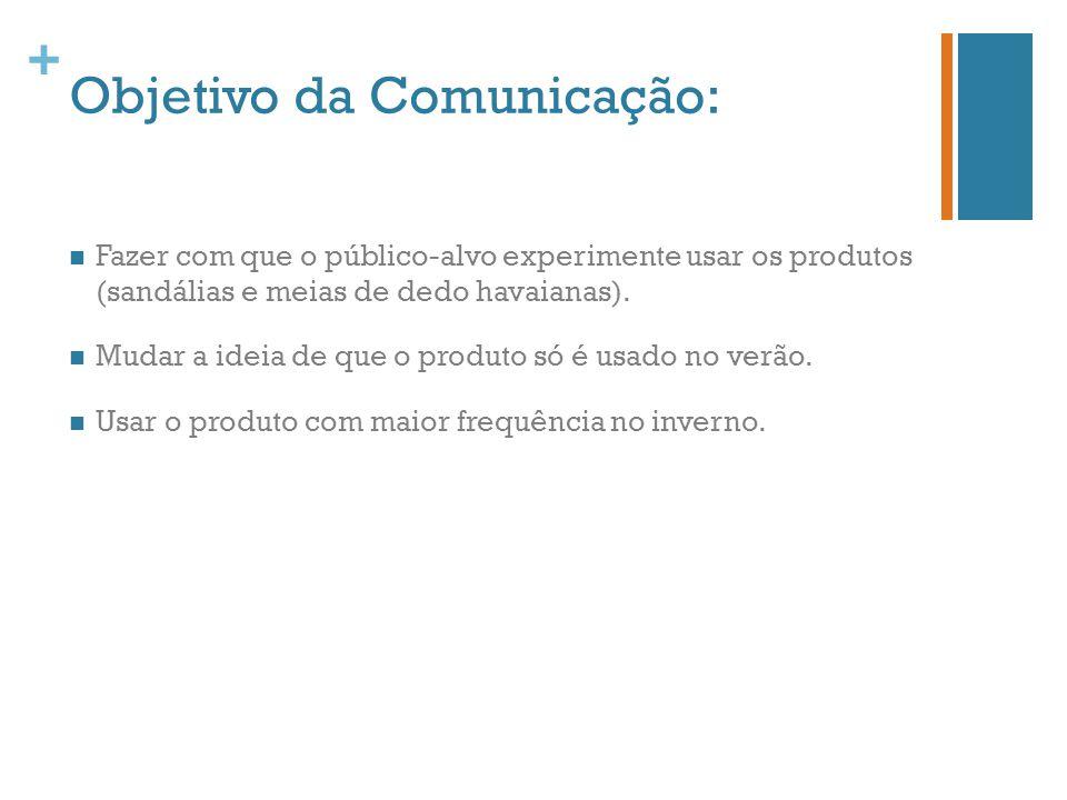+ Objetivo da Comunicação: Fazer com que o público-alvo experimente usar os produtos (sandálias e meias de dedo havaianas). Mudar a ideia de que o pro