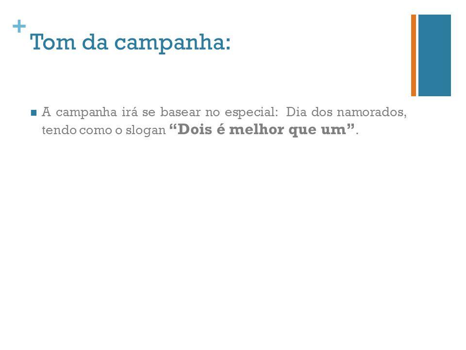 + Tom da campanha: A campanha irá se basear no especial: Dia dos namorados, tendo como o slogan Dois é melhor que um.