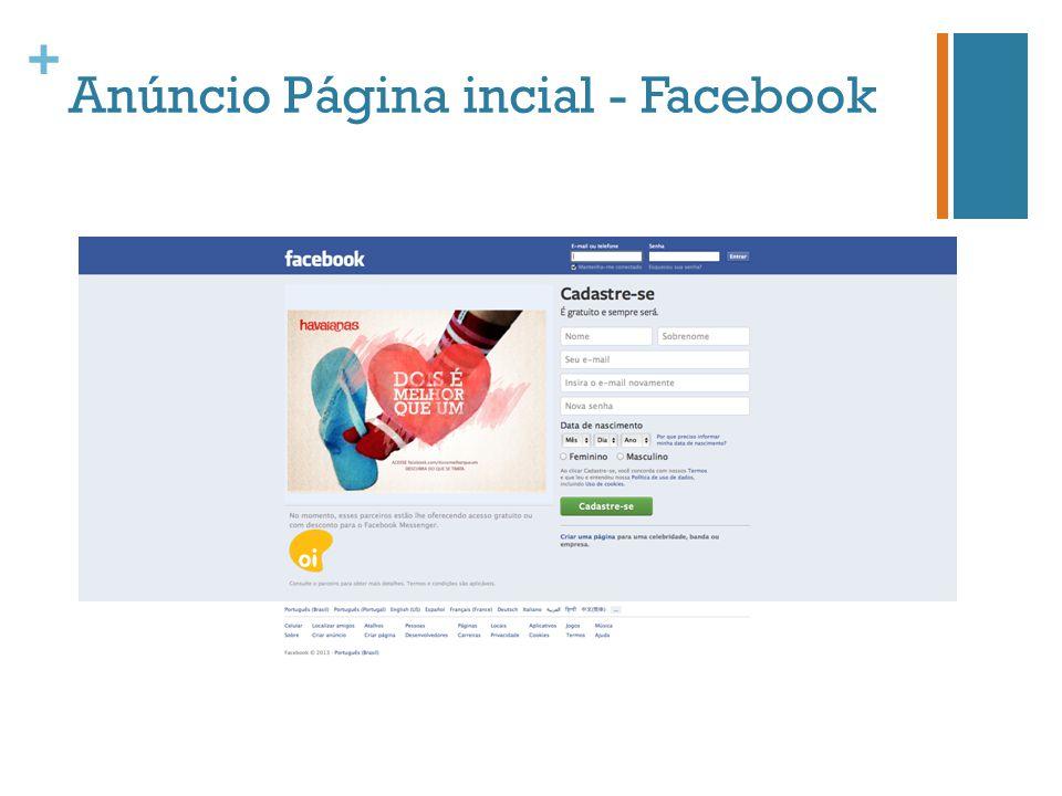 + Anúncio Página incial - Facebook