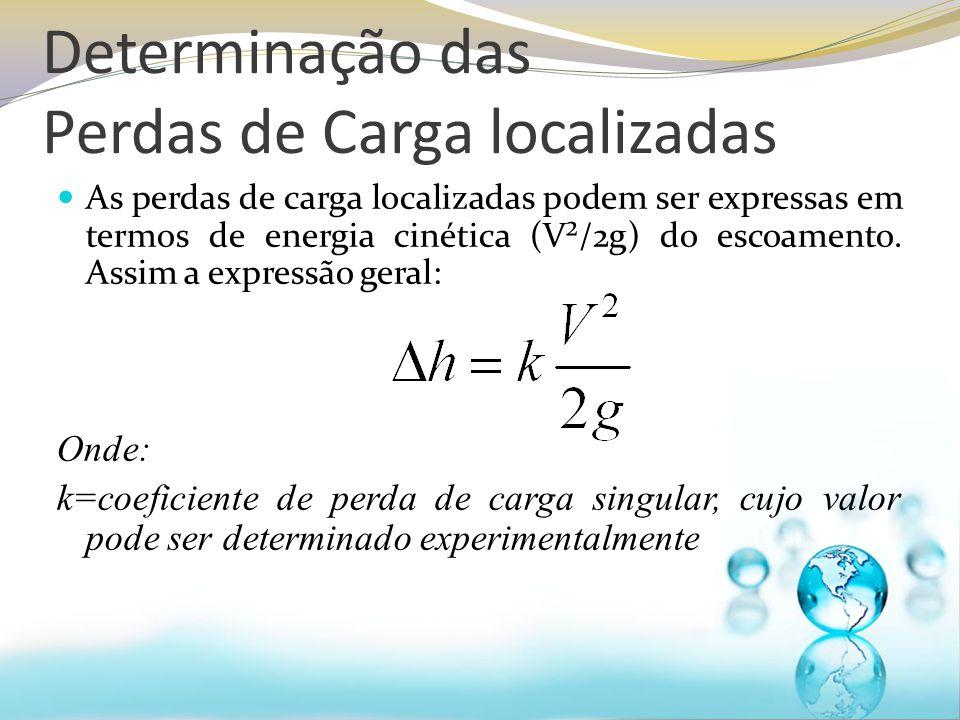 Determinação das Perdas de Carga localizadas As perdas de carga localizadas podem ser expressas em termos de energia cinética (V²/2g) do escoamento.