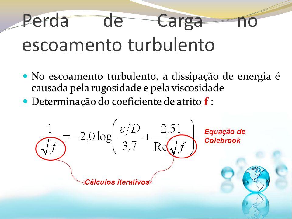 No escoamento turbulento, a dissipação de energia é causada pela rugosidade e pela viscosidade Determinação do coeficiente de atrito f : Perda de Carga no escoamento turbulento Equação de Colebrook Cálculos iterativos