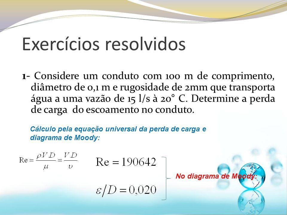 Exercícios resolvidos 1- Considere um conduto com 100 m de comprimento, diâmetro de 0,1 m e rugosidade de 2mm que transporta água a uma vazão de 15 l/s à 20° C.