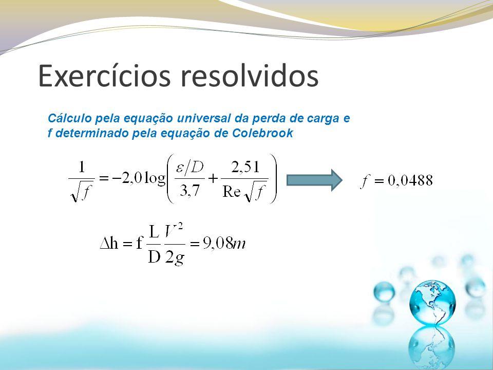 Exercícios resolvidos Cálculo pela equação universal da perda de carga e f determinado pela equação de Colebrook