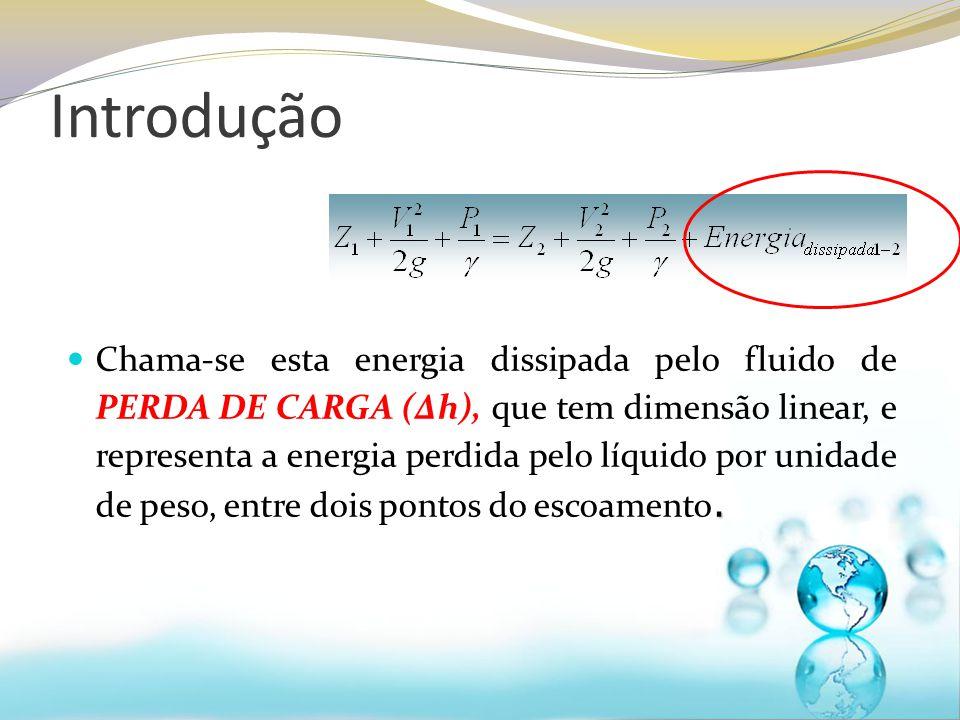 Chama-se esta energia dissipada pelo fluido de PERDA DE CARGA (Δh), que tem dimensão linear, e representa a energia perdida pelo líquido por unidade de peso, entre dois pontos do escoamento.