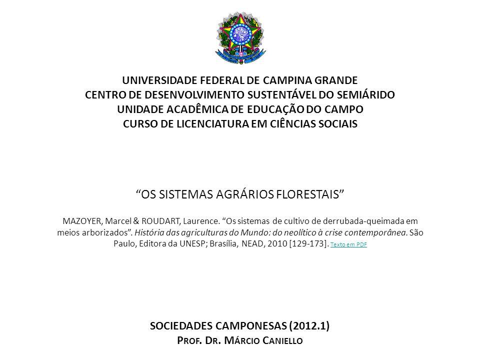 CENTRO DE DESENVOLVIMENTO SUSTENTÁVEL DO SEMIÁRIDO UNIDADE ACADÊMICA DE EDUCAÇÃO DO CAMPO CURSO DE LICENCIATURA EM CIÊNCIAS SOCIAIS SOCIEDADES CAMPONESAS (2012.1) P ROF.