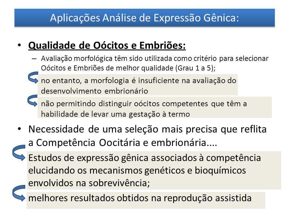 Aplicações Análise de Expressão Gênica: Qualidade de Oócitos e Embriões: – Avaliação morfológica têm sido utilizada como critério para selecionar Oóci