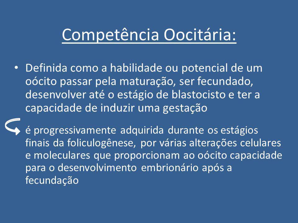 Competência Oocitária: Definida como a habilidade ou potencial de um oócito passar pela maturação, ser fecundado, desenvolver até o estágio de blastoc