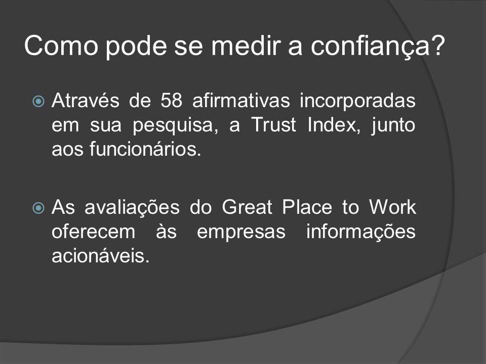 Como pode se medir a confiança? Através de 58 afirmativas incorporadas em sua pesquisa, a Trust Index, junto aos funcionários. As avaliações do Great