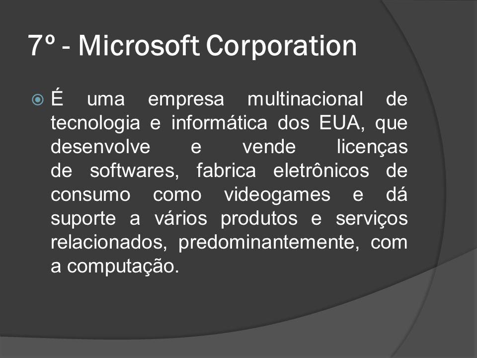 7º - Microsoft Corporation É uma empresa multinacional de tecnologia e informática dos EUA, que desenvolve e vende licenças de softwares, fabrica elet