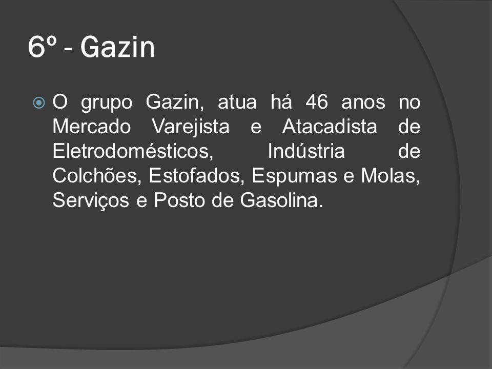 6º - Gazin O grupo Gazin, atua há 46 anos no Mercado Varejista e Atacadista de Eletrodomésticos, Indústria de Colchões, Estofados, Espumas e Molas, Se
