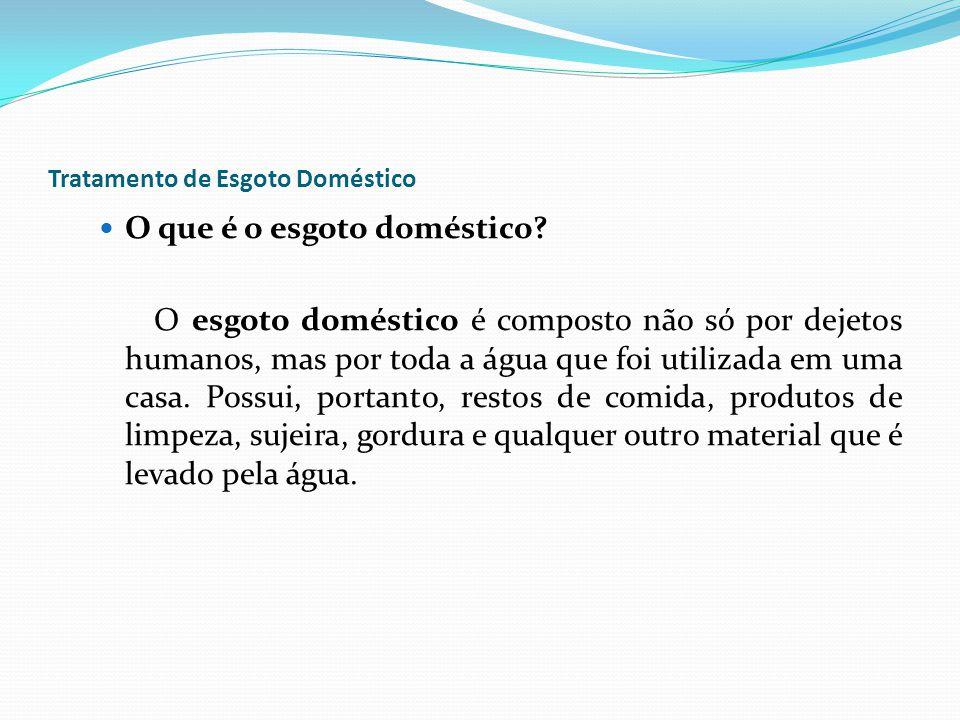 Tratamento de Esgoto Doméstico O que é o esgoto doméstico? O esgoto doméstico é composto não só por dejetos humanos, mas por toda a água que foi utili