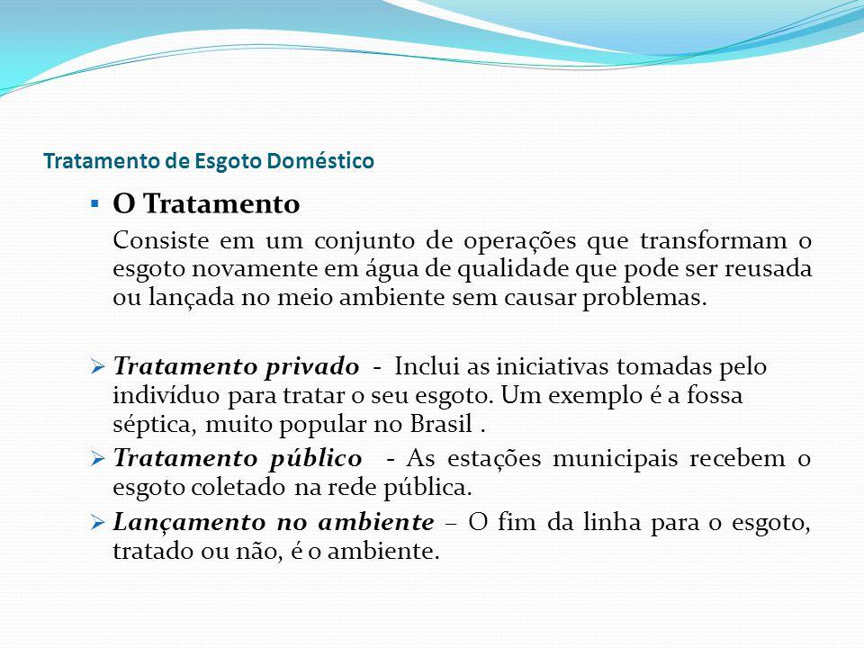Tratamento de Esgoto Doméstico O Tratamento Consiste em um conjunto de operações que transformam o esgoto novamente em água de qualidade que pode ser