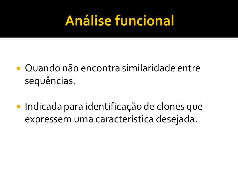 Quando não encontra similaridade entre sequências. Indicada para identificação de clones que expressem uma característica desejada.