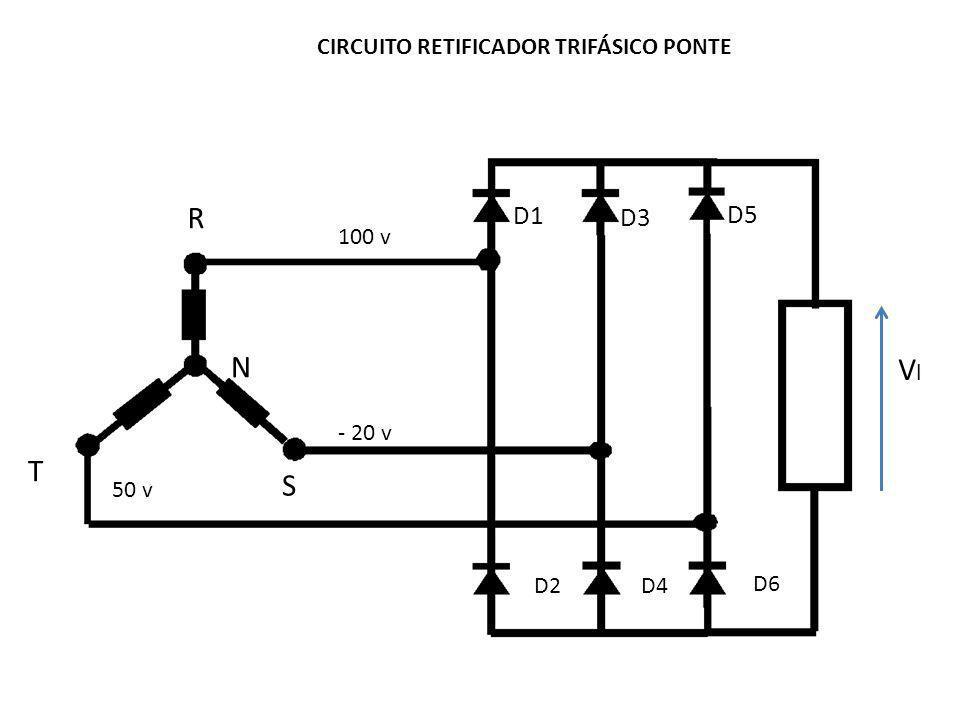 CIRCUITO RETIFICADOR TRIFÁSICO PONTE D1 D3 D5 D2 D4 D6 R S T VlVl N 100 v - 20 v 50 v