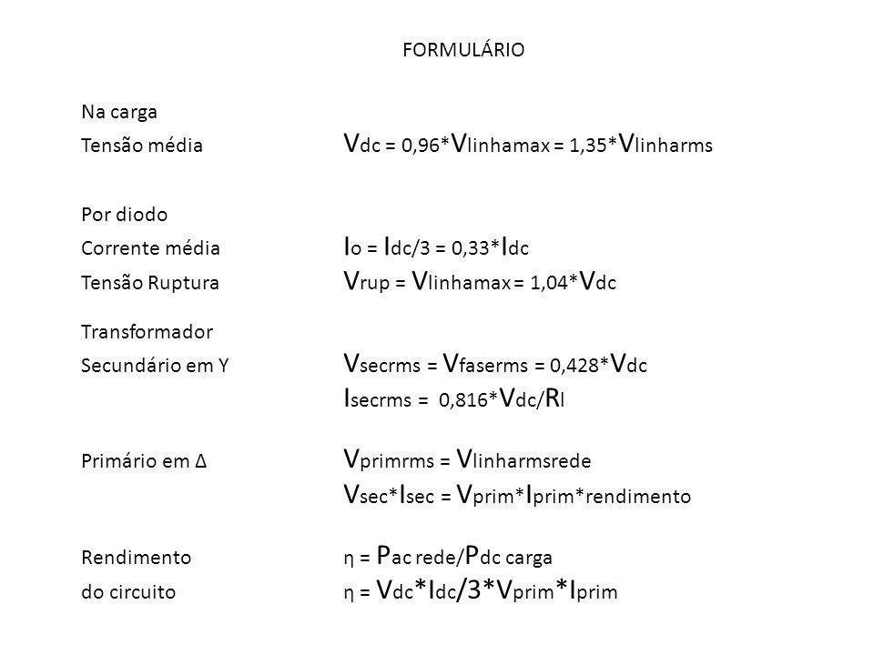 FORMULÁRIO Na carga Tensão média V dc = 0,96* V linhamax = 1,35* V linharms Por diodo Corrente média I o = I dc/3 = 0,33* I dc Tensão Ruptura V rup =