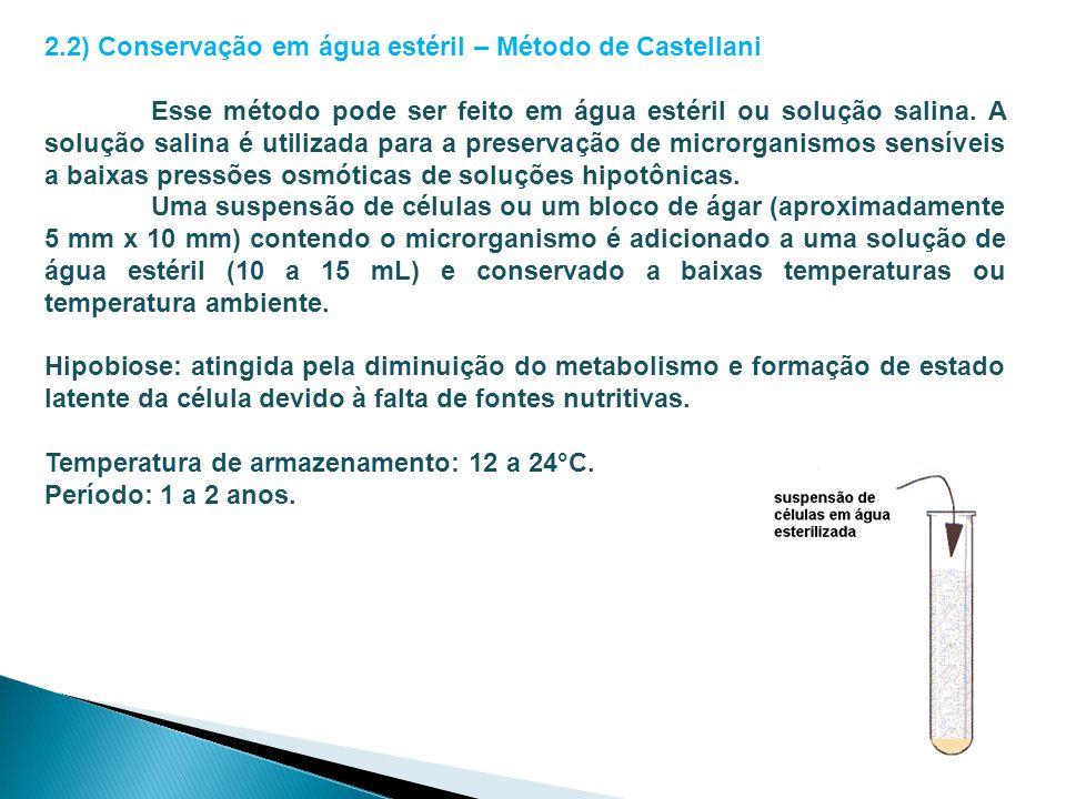 2.2) Conservação em água estéril – Método de Castellani Esse método pode ser feito em água estéril ou solução salina. A solução salina é utilizada par