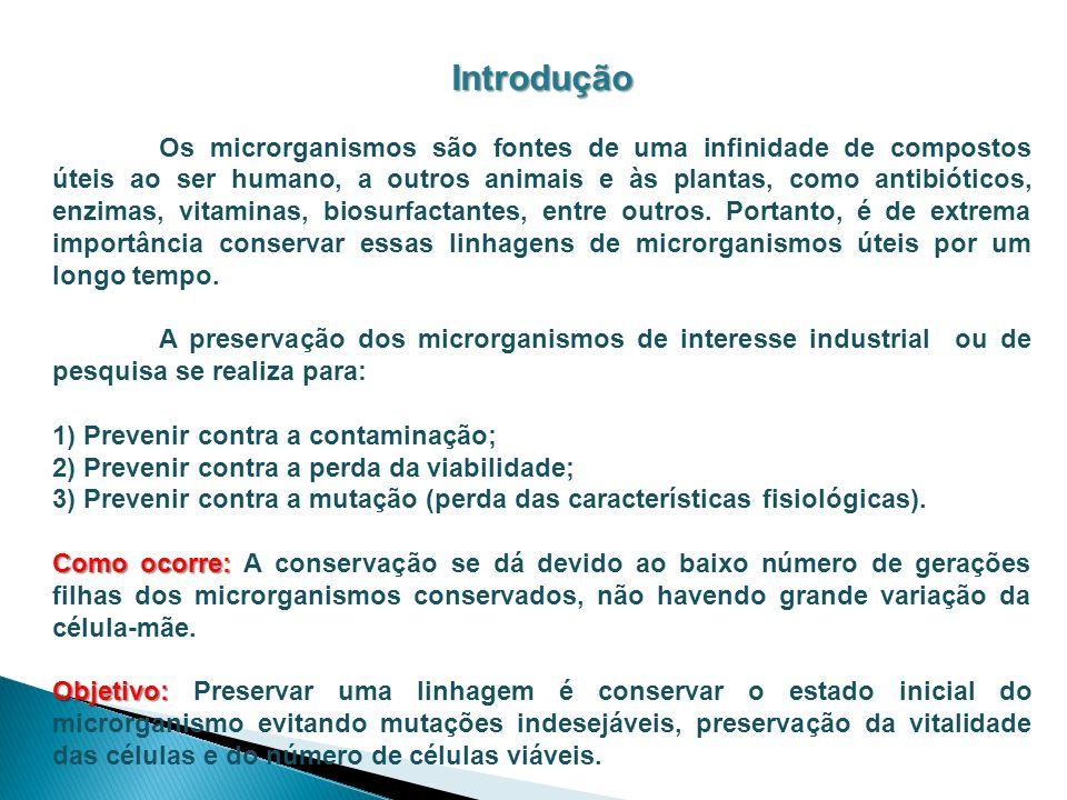 Fundamento A conservação de microrganismos está baseada na transição reversível entre um estado vital ativo (biose) e um estado inativo (anabiose) ou um estado de atividade baixa (hipobiose).
