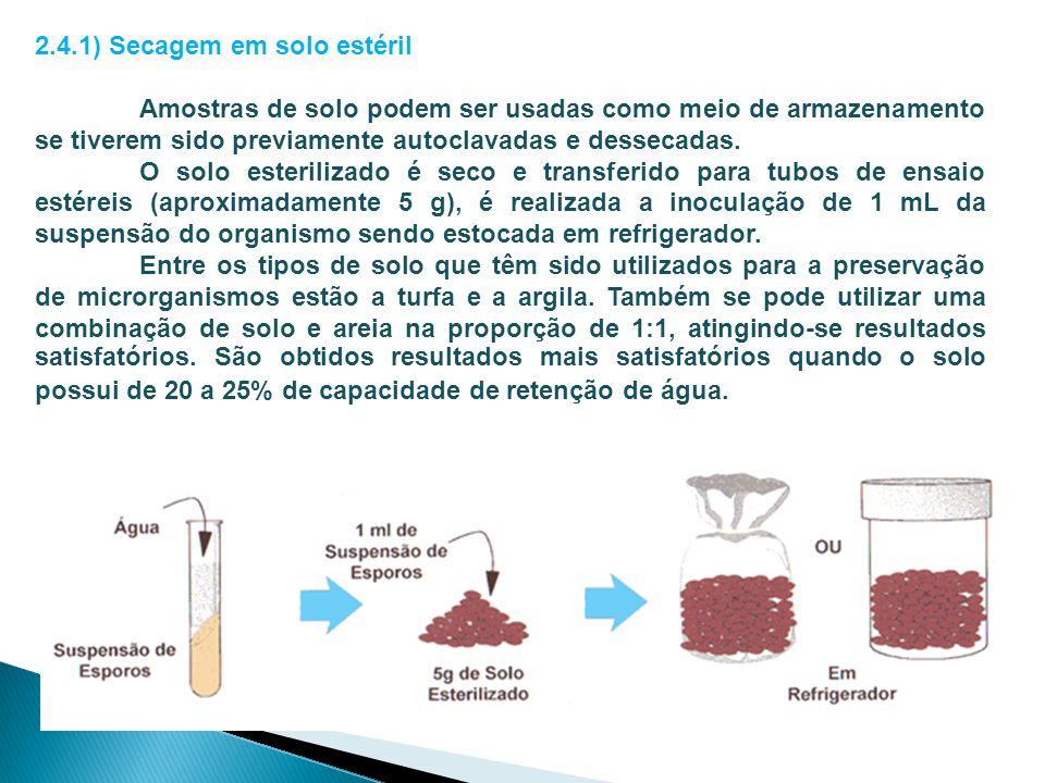 2.4.1) Secagem em solo estéril Amostras de solo podem ser usadas como meio de armazenamento se tiverem sido previamente autoclavadas e dessecadas. O s