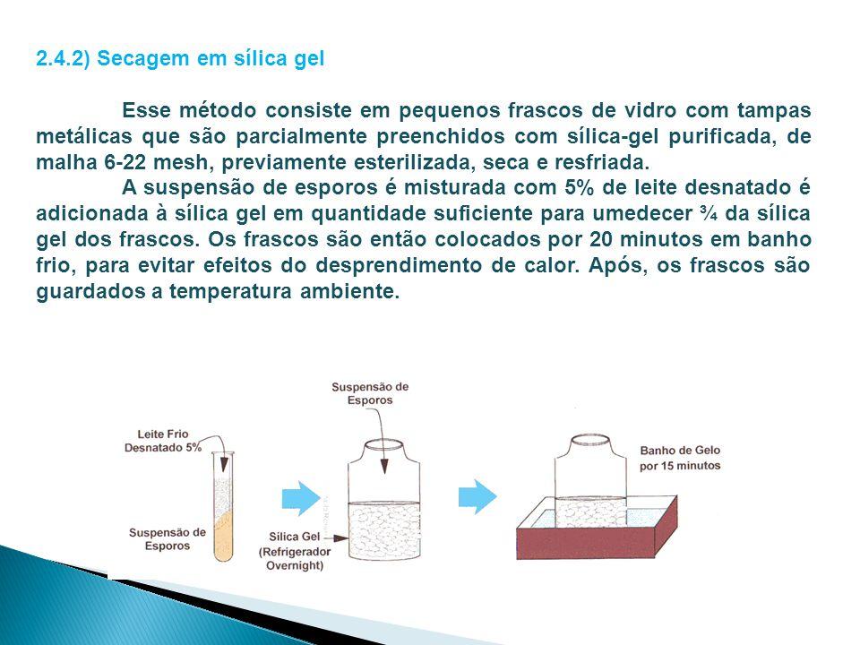 2.4.2) Secagem em sílica gel Esse método consiste em pequenos frascos de vidro com tampas metálicas que são parcialmente preenchidos com sílica-gel pu