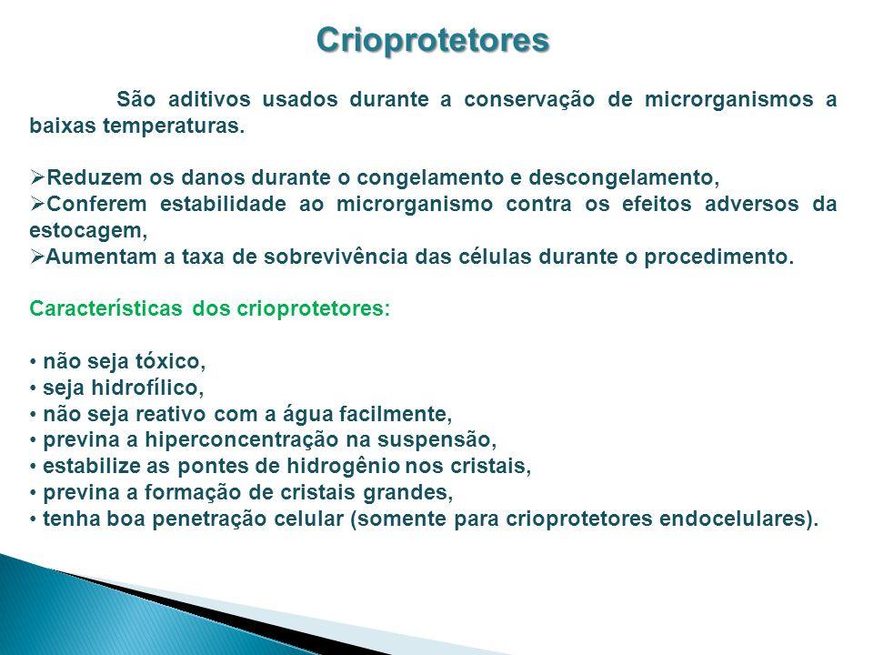 Crioprotetores São aditivos usados durante a conservação de microrganismos a baixas temperaturas. Reduzem os danos durante o congelamento e descongela
