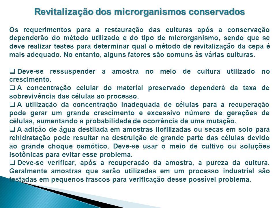 Revitalização dos microrganismos conservados Os requerimentos para a restauração das culturas após a conservação dependerão do método utilizado e do t